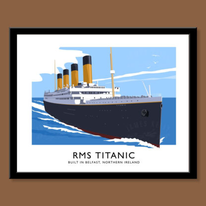 Vintage style art print of the RMS Titanic, built in Belfast