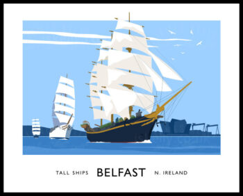 Vintage style art print to commemorate the Stall Ships Festival at Belfast, Northern Ireland.