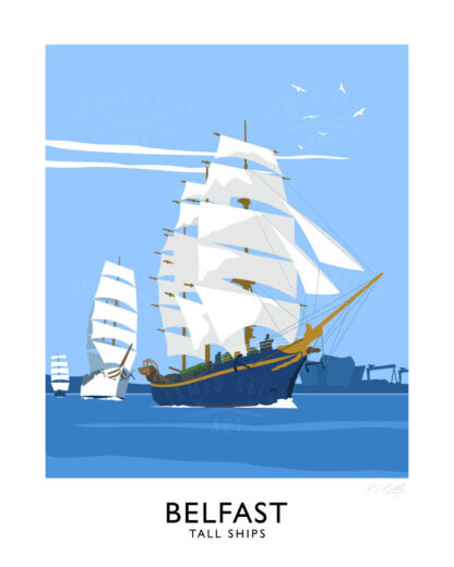 Vintage style art print of Tall Ships visiting Belfast