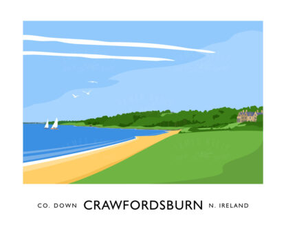 Vintage style travel poster art print of Crawfordsburn Country Park, County Down