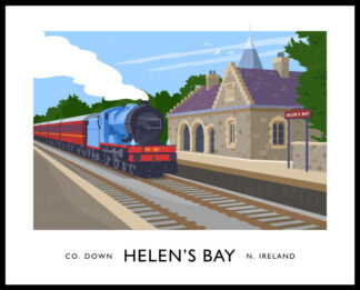 Vintage style art print of a steam train passing through Helen's Bay Train Station in County Down, Northern Ireland.