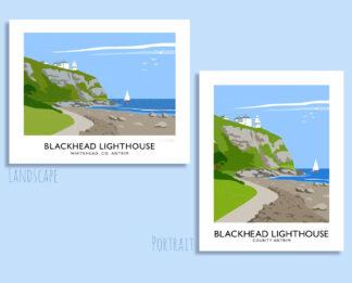 Vintage style art print of Blackhead lighthouse, County Antrim