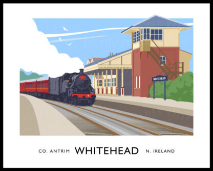 Vintage style art print of a steam train at Whitehead railway halt, County Antrim