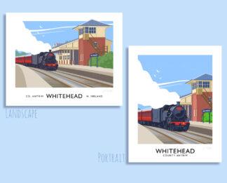Vintage style art print of a steam train at Whitehead railway halt, County Antrim