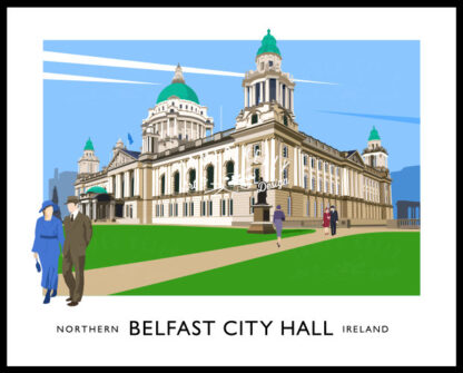 Vintage style art print of Belfast City Hall