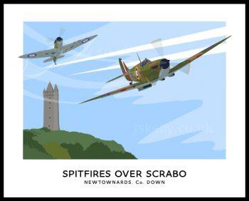 Supermarine Spitfires flying over Scrabo Tower.