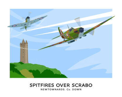 Vintage style art print of Spitfires over Scrabo Tower, County Down