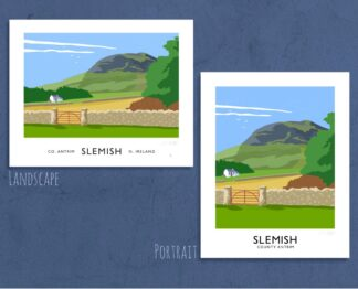 Vintage style travel poster art print of Slemish Mountain near Ballymena, County Antrim