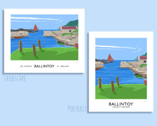Vintage style art print of Ballintoy harbour, County Antrim