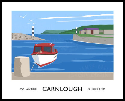 Vintage style art print of Carnlough harbour, County Antrim
