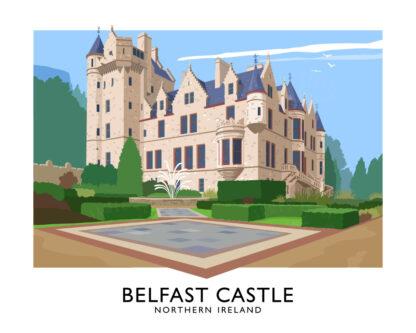 Vintage style travel poster art print of Belfast Castle