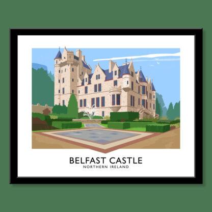 Vintage style poster art print of Belfast Castle.