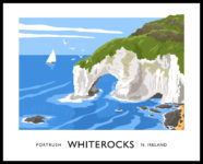 Vintage style art print of Whiterocks near Portrush, County Antrim