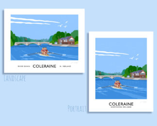 Vintage style travel poster art print of rowere on the River Bann at Coleraine