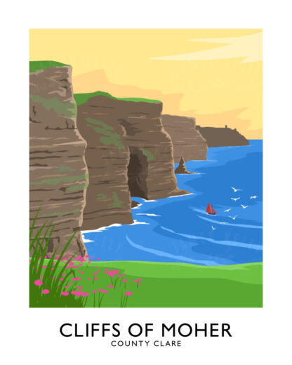 Vintage style art print of the Cliffs of Moher, County Clare