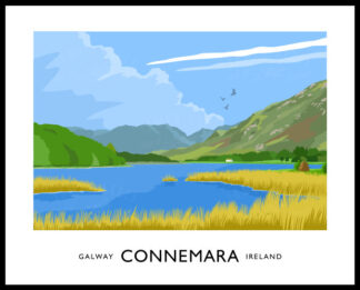 Vintage style art print of Connemara, County Galway