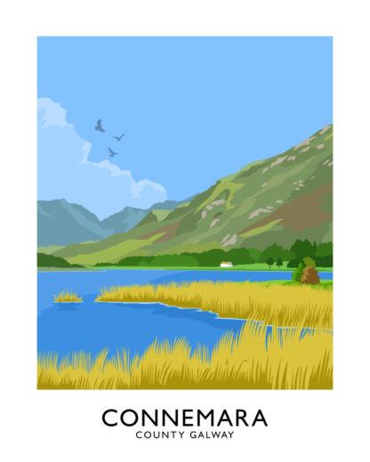 Vintage style art print of Connemara, County Galway