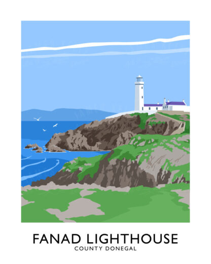 Vintage style art print of Fanad lighthoise, County Donegal