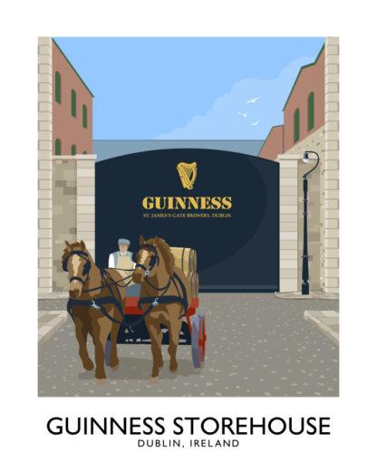 Vintage style art print of St James' Gate, The Guinness Storehouse, Dublin
