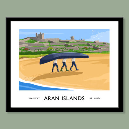 Vintage style art print of fishermen carrying a currach up the beach on Inisheer, one of the Aran Islands off the coast of County Galway.