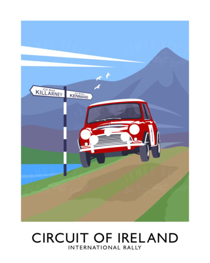Vintage style art print of a Mini competing in the Circuit of Ireland rally