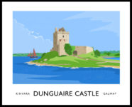 Vintage style art print of Dunguaire Castle at Kinvara, County Galway