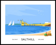 Vintage style art print of theBlackrock diving tower at Salthill, County Galway