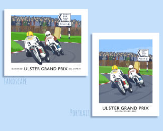 Vintage style art print featuring Joey Dunlop at the Ulster Grand Prix, Dundrod, Belfast