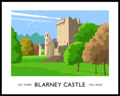 Vintage style art print of Blarney Castle, County Cork