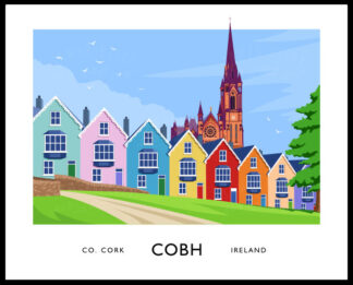 Vintage style art print of the row od=f houses known as The Deck of Cards in Cobh, County Cork.