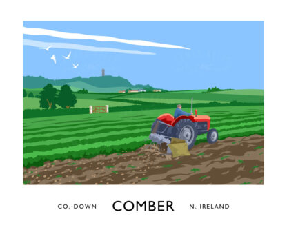 Vintage style art print of a Massey Ferguson tractor harvesting potatoes near Comber, County Down