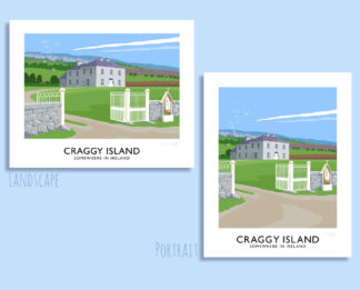 Vintage style travel poster art print of Father Ted's house on Craggy Island