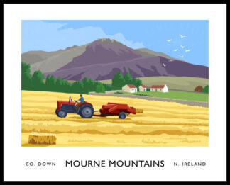 Massey Ferguson hay baling in the Mourne Mountains.