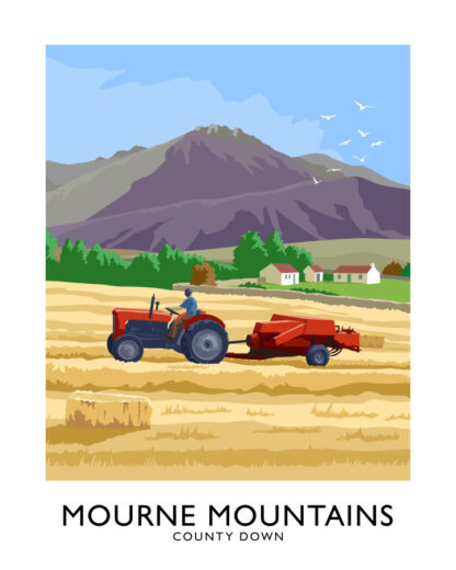 Vintage style art print of a Massey Ferguson tractor baling hay in the Mourne Mountainside