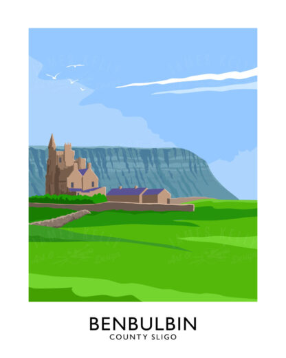 Vintage style poster art print of Benbulbin and Classiebawn Castle at Mullaghmore, Sligo.