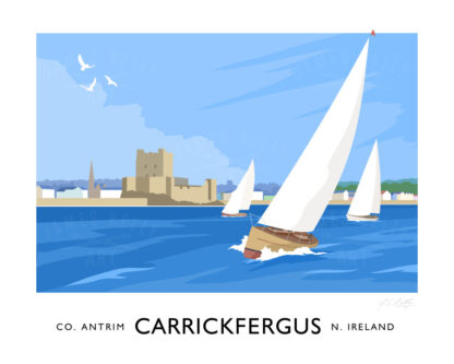 Vintage style art print of sailing yachts off Carickfergus, County Antrim