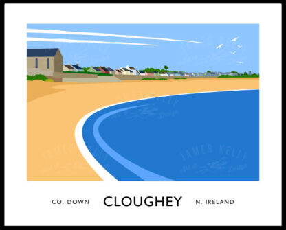 Vintage style art print of Cloughey beach, County Down