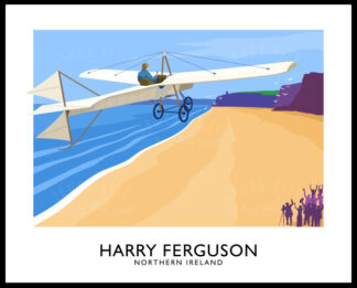 Vintage style travel poster art print of Harry Ferguson in his home made airplane over Magilligan Strand, Derry