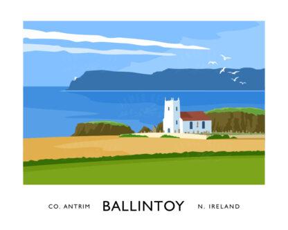 Vintage style art print of Ballintoy Church, County Antrim