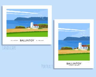 Vintage style travel poster art print of Ballintoy Church and Rathlin Island.