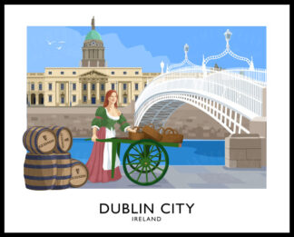 Vintage style art print of Dublin City