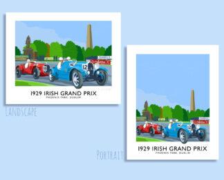 Travel poster of the 1929 Irish Grand Prin in Phoenix Park, Dublin.