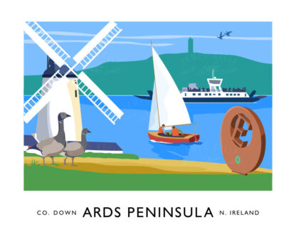 Vintage style art print of landmarks from around the Ards Peninsula, County Down