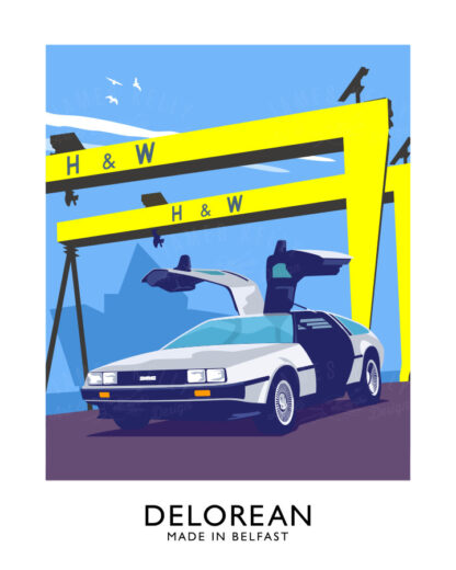 Vintage style art print of a Delorean sports car and the iconic Harlanf and Wolf cranes of Belfast