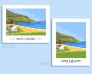 Vintage style travel poster art print of Keem Beach on Achill Island, County Mayo