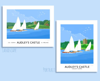 Vintage style travel poster art print of sailing boats on Strangford Lough off Audley's Castle near Castle Ward, Co. Down.