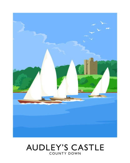 Vintage style art print of a sailing yacht on Strangford Lough off Audley's Castle, County Down