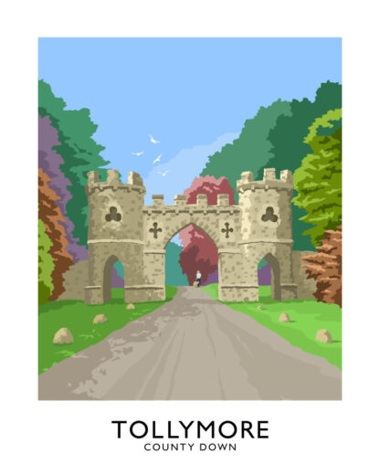 Vintage style art print of the gateway to Tollymore Forest Park in the Mourne Mountains, Northern Ireland.