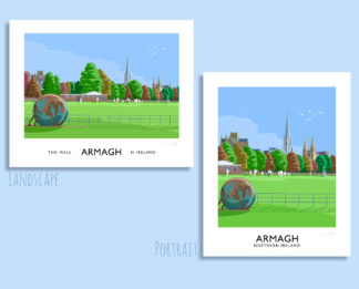 Vintage style art print of cricketers on Armagh Mall