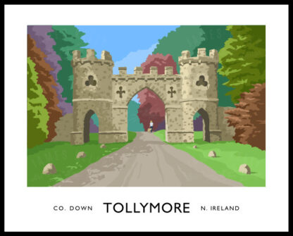 Vintage style art print of Tollymore gateway